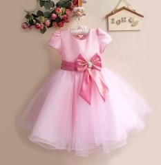 Princess Clothes Pageant Dress Birthday Little Flower Girl Dresss pink 90