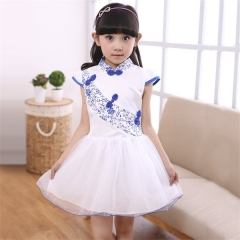 New Spring Summer Kid Girl Dress Baby Pageant Clothes sky bule 90