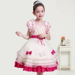 2017 Summer Kids Girl Dress Childrend Beauty Dress fuchsia 100