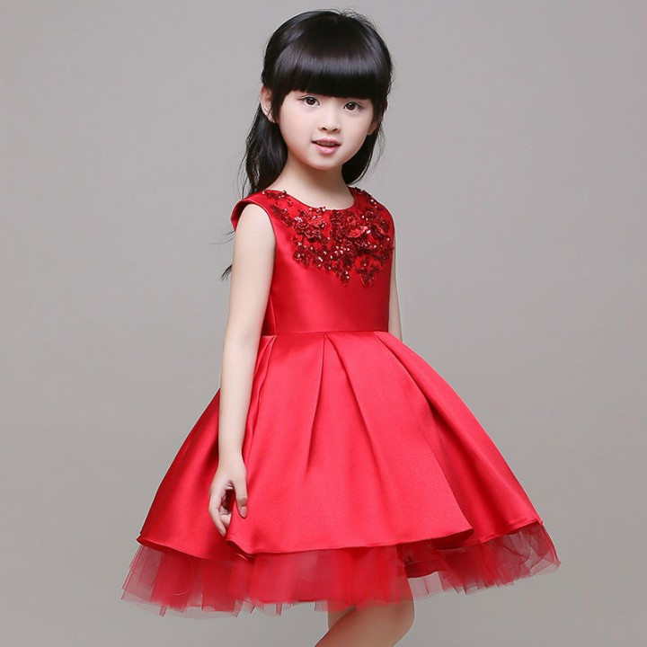Kids Girl Clothes Fashion  Red Birthday Party Dress red 90