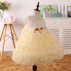 Children's Fashion Dress Halloween Girls Princess Pageant Clothes Champagne 100