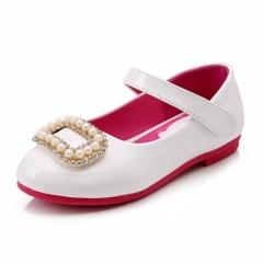 Children Princess Lether Shoes Sequins Wedding Kids Dress Shoes White Eur 26