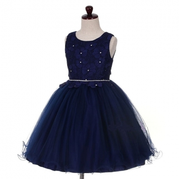 New Children Party Dress Flower Girl Dress Kids Fashion Cothing Bule 110