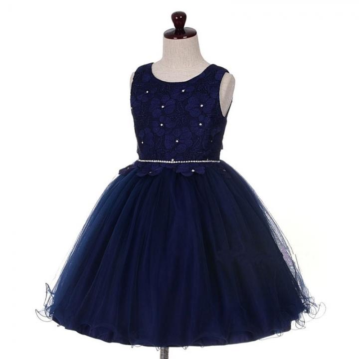 New Children Party Dress Flower Girl Dress Kids Fashion Cothing Bule 110