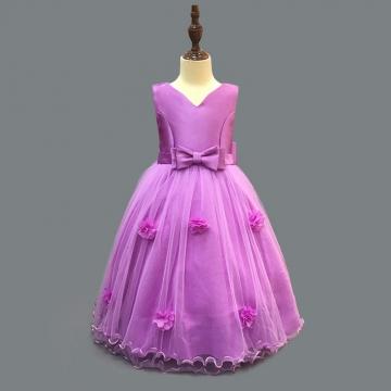 Children Princess Dress Flower Girl Wedding Party Gown purple 100
