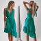 Womens Sexy Solid Long Dress Bandage Irregularity Ladies V-Neck Party Dress Green xl