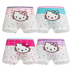 4 pack Children's cotton underwear female cartoon printed baby girls underwear boxer briefs panties 1 S(suit for 2-4 year)