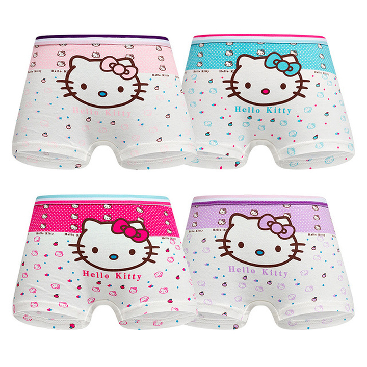 4 pack Children's cotton underwear female cartoon printed baby girls underwear boxer briefs panties 1 S(suit for 2-4 year)