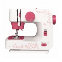 Automatic Double Thread Mini Sewing Machine Portable Double Speed Home Tool with Lighting Lamp Red