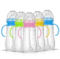 Silicone Kids Baby Bottle Milk Water Feeding Bottle Baby Extra Wide Neck random 150ml