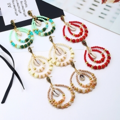 women fashion earring stud  gilded silvering with crystal shell plastic bead rhinestone white one size