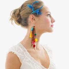 BOHEMIA earring ethnic style tassel style korea earring women hook type earrings blue one size