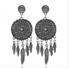 Elegant classic women jewellery leaf sliver plating earrings for party ceremony silver one size