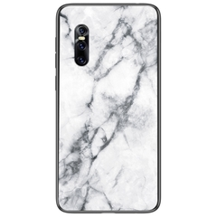Marble Pattern Glass Hard Back Soft Silicone Bumper TPU Frame Protective Cover for Vivo X27 White VIVO X27
