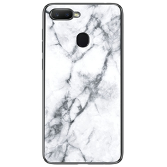 Marble Pattern Glass Hard Back Soft Silicone Bumper TPU Frame Protective Cover for OPPO F9 Pro White Oppo F9 Pro