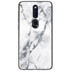 Marble Pattern Glass Hard Back Soft Silicone Bumper TPU Frame Protective Cover for Oppo F11 Pro White Oppo F11 Pro