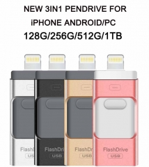 3in1 OTG Pendrive 1TB (970GB) 512GB 256GB 128GB USB U Disk For iPhone /Android/PC 1T gold Pendrive 128GB