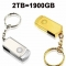 2TB (1900GB) USB2.0 Metal Pendrive Flashdrive Udisk 2T Memory Stick gold pendrive 2TB (1900GB)