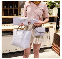 Fashion Women Handbags Purse Bag Pouch Bags Card Bags Shoulder Bags Totes Composite Bags 4pcs Set gray one size