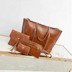 Fashion Women Handbags Purse Bag Pouch Bags Card Bags Shoulder Bags Totes Composite Bags 4pcs Set brown one size