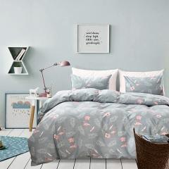 3Pcs Duvet Cover Set Sleeping Comforter Bedding Pillowslip  Pillowcase Flamingo Gold Printed Soft flamingo queen