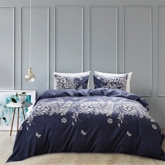 3Pcs Duvet Cover Set Sleeping Comforter Bedding Pillowslip Pillowcase Bird Flowery Butterfly Blue plant king