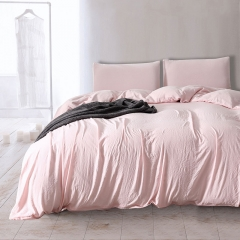 Wosingmyeon Duvet Cover Set Sleeping Comforter Bedding Pillowslip Pillowcase Light Pink Color Soft Light Pink queen
