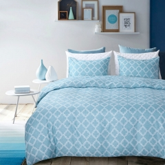 Duvet Cover Set Comforter Bedding Pillowslip Pillowcase Blue Check Geometric Pattern Soft Blue queen