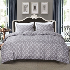 Duvet Cover Set Comforter Bedding Pillowslip Pillowcase Light Grey Check Geometric Pattern Soft grey queen