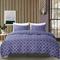 Duvet Cover Set Comforter Bedding Pillowslip Pillowcase Dark Blue Check Geometric Pattern Soft Dark Blue queen