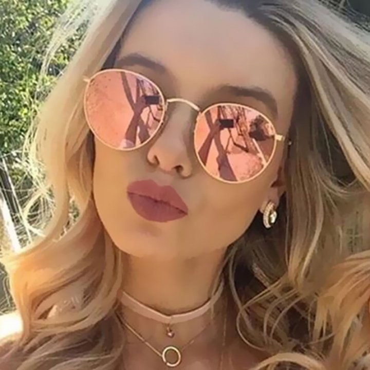 9ac915bbe15a Round Sunglasses Women Classic Rose Gold Fashion Brand Designer Steampunk  Sun Glasses UV400 Rayed orange+