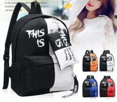 Graffiti Canvas Backpack Students School Bag For Girls Boys Backpacks Printing Rucksack Streamers white 30*40*11cm