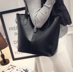 2018 new leather leisure women bag contracted leather tote bags woman single large handbag black one size