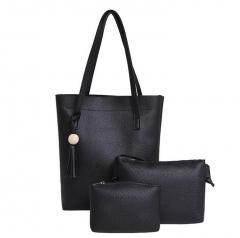 3Pcs/Set Handbags PU Leather Shoulder Bags Casual Tote Tassel Designer Composite Messenger Bag Purse black one size