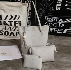 3Pcs/Set Handbags PU Leather Shoulder Bags Casual Tote Tassel Designer Composite Messenger Bag Purse gray one size