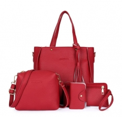 Women Bag Set Top-Handle Big Capacity Female Tassel Handbag Purse Ladies PU Leather Crossbody Bag black one size