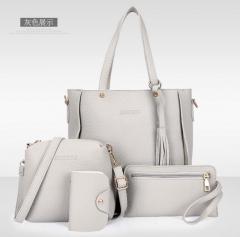 Women Bag Set Top-Handle Big Capacity Female Tassel Handbag Purse Ladies PU Leather Crossbody Bag gray one size