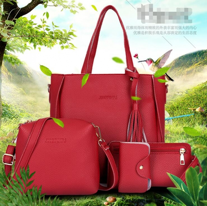 Women Bag Set Top-Handle Big Capacity Female Tassel Handbag Purse Ladies PU Leather Crossbody Bag wine red one size