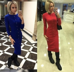 Knitting Dress 2018 Warm Women Knitted O-neck Dresses Package Hip Sheath Bodycon Dress With Buttons black s