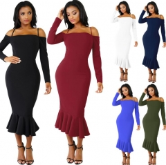 2018 Women Autumn Sexy Casual dress Fashion elegent Flounce Dress Vestidos Long Sleeve  slip dress black s