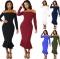 2018 Women Autumn Sexy Casual dress Fashion elegent Flounce Dress Vestidos Long Sleeve  slip dress black s
