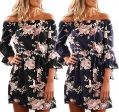 2018 Sexy Off Shoulder Floral Print Chiffon Dress Boho Style Short Party Dresses Vestidos de fiesta black s