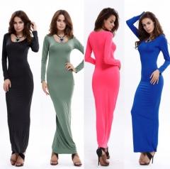 High Stretch Elegant Women Sexy Dress O-neck long Sleeve Slim Maxi Dress Thin Long Dress Vestidos black s