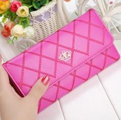 Women Wallet Clutch Bag Vintage Crown Embellishment Plaid Wallets ID Card Holder Purse Phone Case yellow 19*10*2.5cm