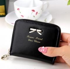 Brand Wallet Women Bowknot Small Purse PU Artificial Leather Wallet Female Zipper Coin Purse Wallet yellow 11*9*2cm