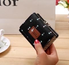 Hot Short Tassel Women's Wallets Lady Mini Card Holder Wallet Credit Card Coin Purse Brand 3 Fold black 11*9*3cm