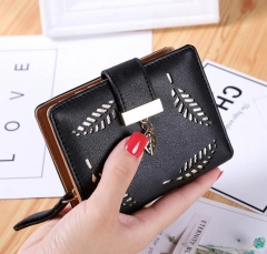Famous Luxury Women's Wallet Purse Small wallet perse Portomonee portfolio lady short carteras black 10*11.7*3cm