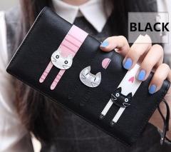 New Women Wallet Cat Cartoon Wallet Long/short Creative Female Card Holder PU wallet coin purses black 12*9.5*3.5cm