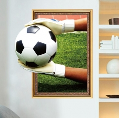 Broken Wall Football 3d Wall Stickers Art Pvc Wallpaper Diy Poster Mural Art Soccer Wall Decals style 1 as picture