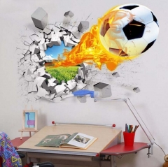 football through wall stickers kids room decoration soccer funs 3d mural art sport game pvc poster style 1 as picture